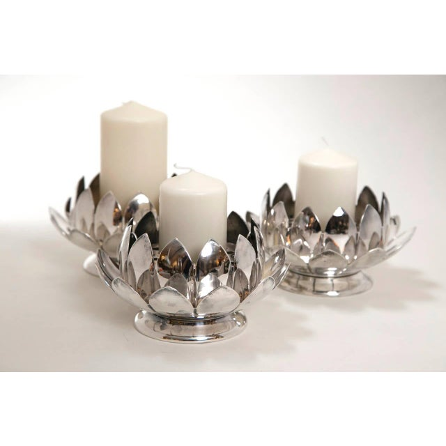 Mid-Century Silver Lotus Flower Holders by Reed and Barton - Image 2 of 8