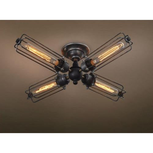 Image of 4 Bulb Industrial Ceiling Light