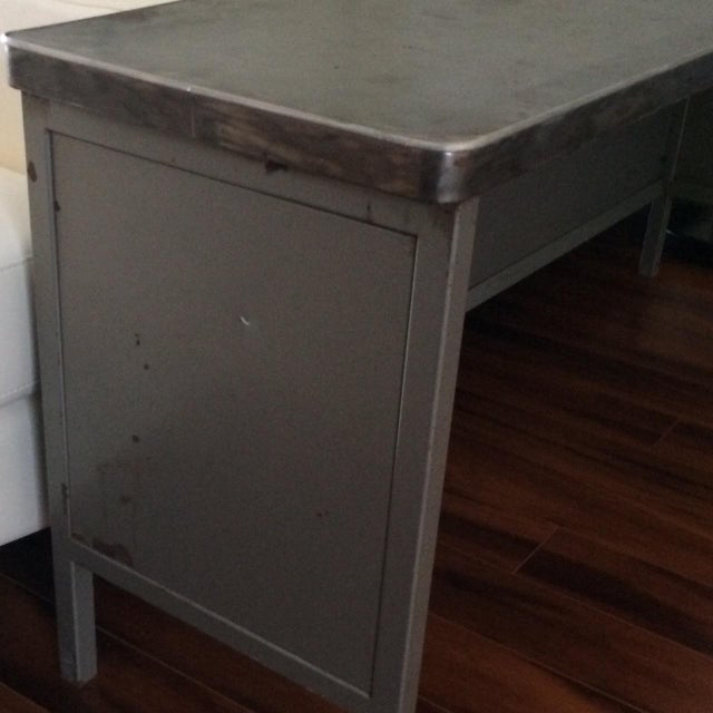 Vintage Steel Industrial Console Table - Image 6 of 7