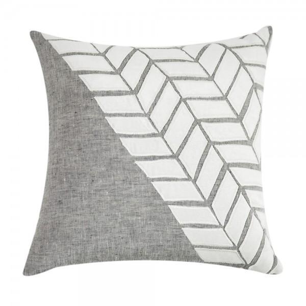 White & Gray Velvet Appliqué Linen Pillow - Image 1 of 2
