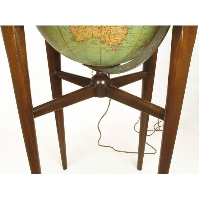 Image of Replogle Illuminated Glass Globe on Mahogany Articulated Stand, circa 1940s