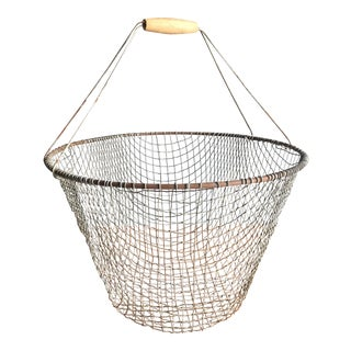 Vintage Farmhouse Metal Wire Basket With Wood Handles