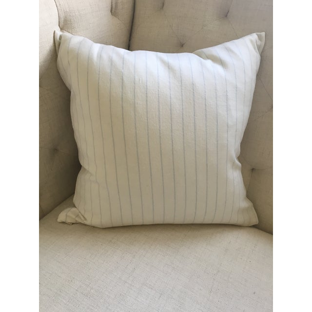 Holland & Sherry Ivory With Pale Blue Pinstripe Wool Pillow Cover - Image 7 of 8