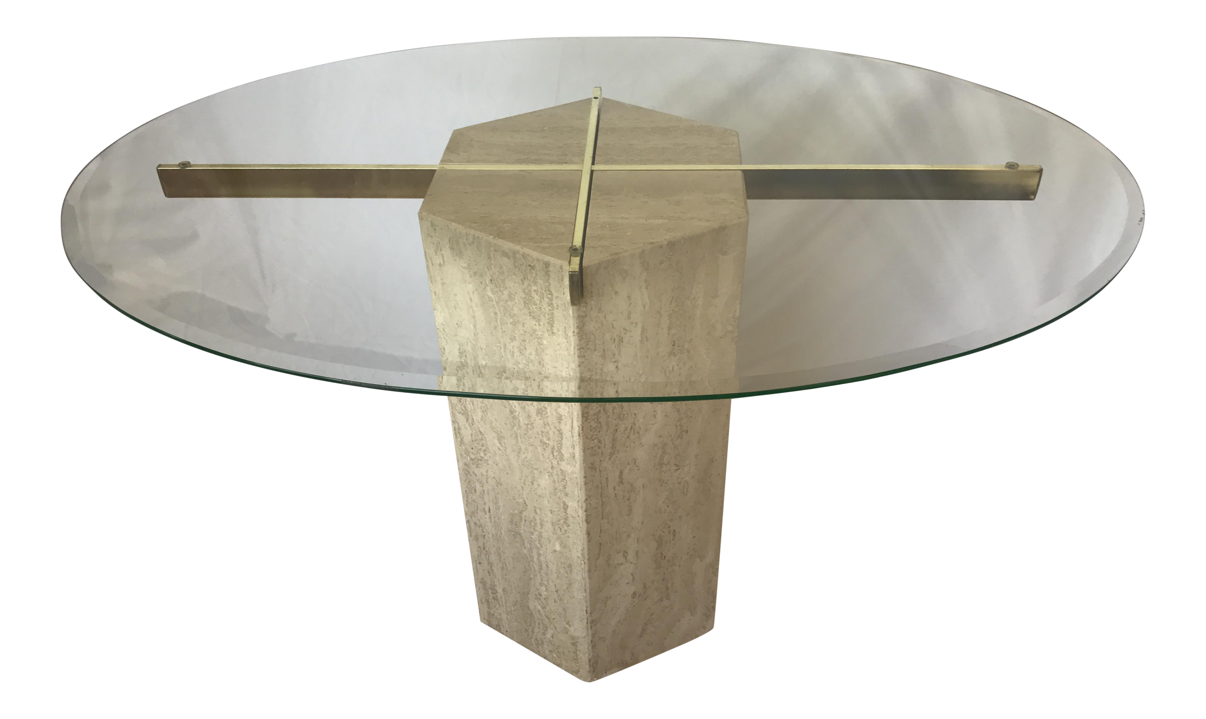 Ello Italian Travertine Marble Brass U0026 Glass Pedestal Table