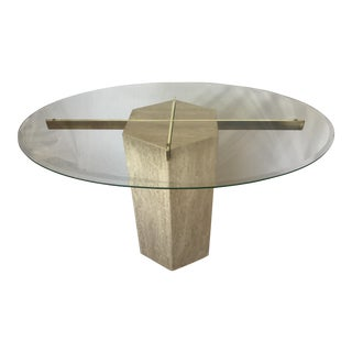 Ello Italian Travertine Marble Brass & Glass Pedestal Table