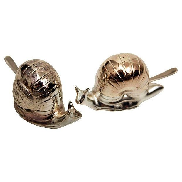 Silver Snail Salt Cellars - a Pair - Image 2 of 5