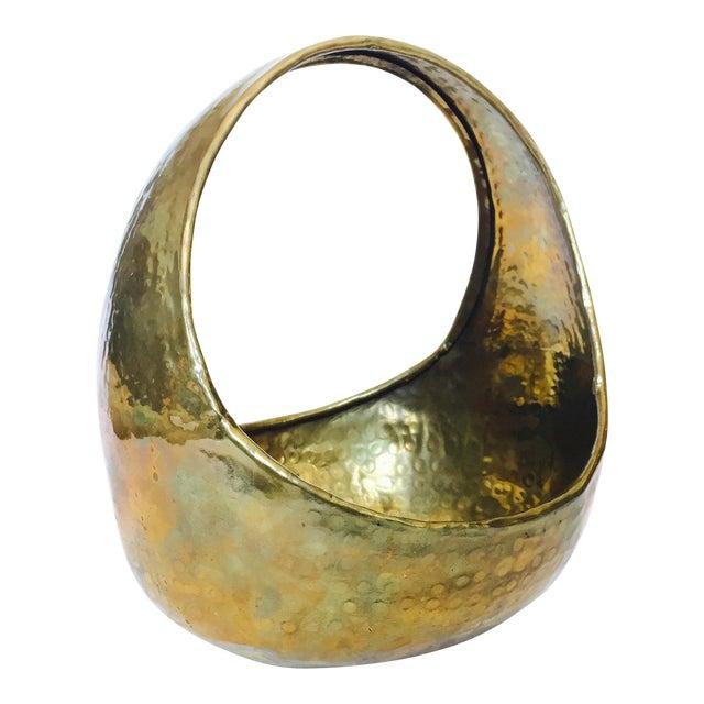 Image of Vintage Hammered Brass Basket