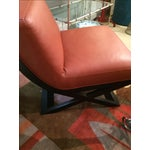 Image of Leather & Ebonized Wood Club Chairs - A Pair