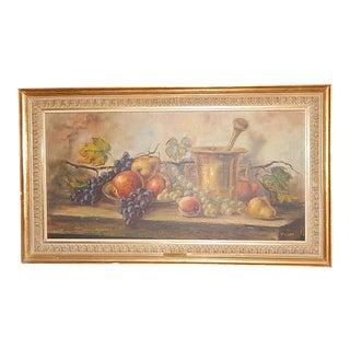 F. Walt Fruit Painting in Gold Gilt Frame