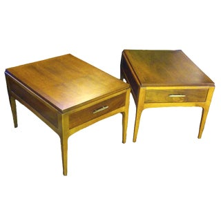 Lane Mid-Century Single Drawer End Tables - A Pair