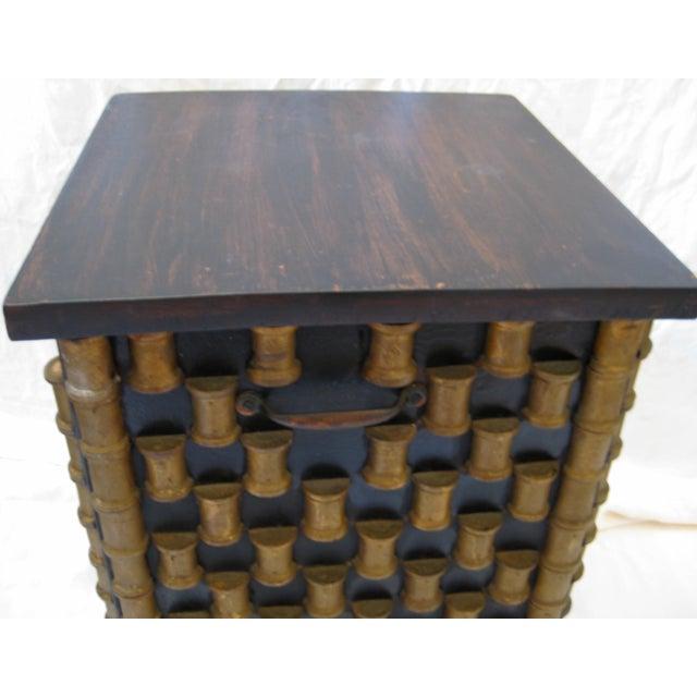 Folk Art Spool Table With Hidden Storage - Image 5 of 6