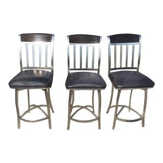 Black Swivel Bar Stools - Set of 3