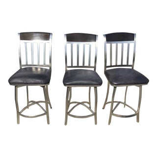 Black Swivel Bar Stools - Set of 3