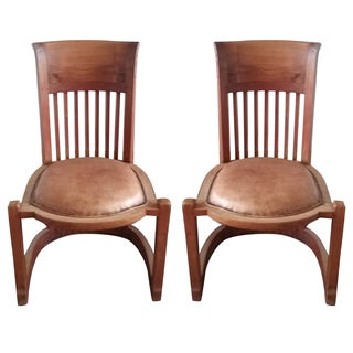 Frank Lloyd Wright-Style Wood & Leather Chairs - A Pair