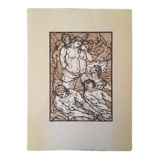 "Émile Bernard ""Odyssee"" 1930s Hand Painted Woodcut Print"