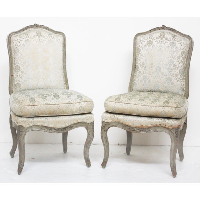 Pair of Period Louis XV Slipper Chairs in Cut-Velvet Damask Upholstery - Image 2 of 7