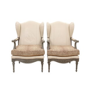 Louis XVI Style Leopard Wingback Chairs- A Pair