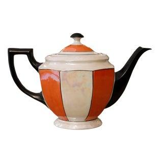 Czechoslovakian Orange, Black & Pearl White Teapot