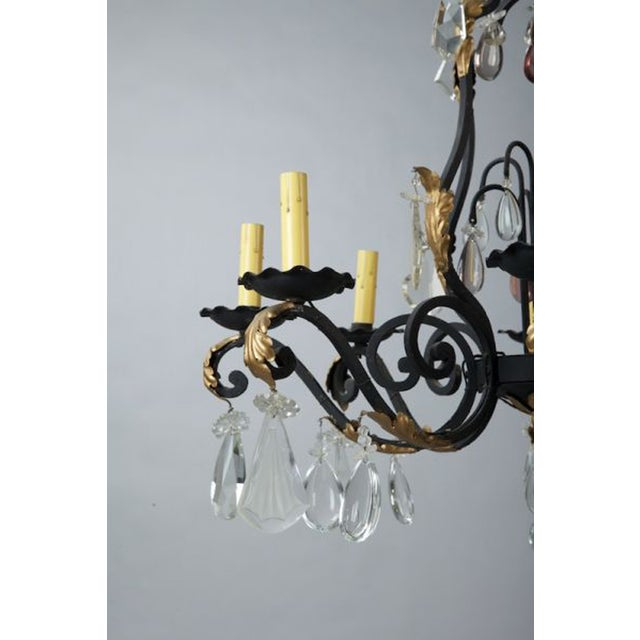 French Eight Light Iron Gilt & Crystal Chandelier - Image 4 of 6