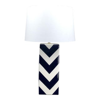 Navy Blue & White Chevron Ceramic Table Lamp