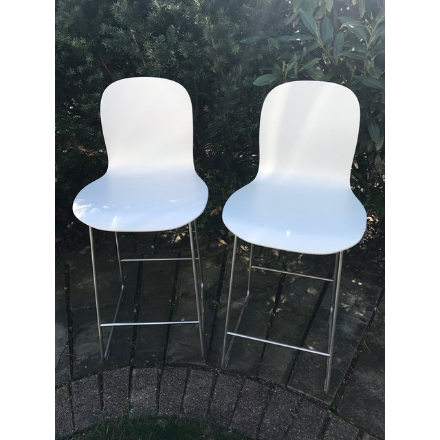 Image of Cappellini Tate White Bar Stools - A Pair