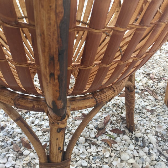 Vintage Rattan Fish Basket Tables -- A Pair - Image 5 of 6