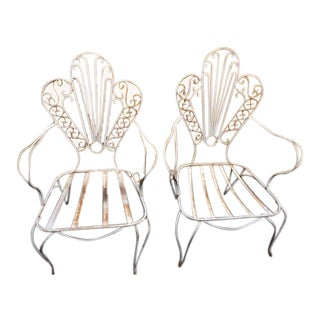 Ornate Vintage White Metal Chairs - a Pair