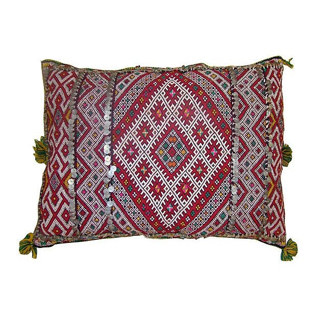 Moroccan Sham with Green & Pink Diamonds - Image 1 of 2