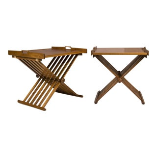 Pair of Walnut Folding Campaign Tables by Stewart MacDougall