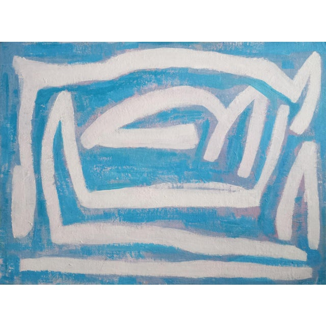 """Susie Kate """"Abstract on Blue"""" Original Painting - Image 4 of 4"""