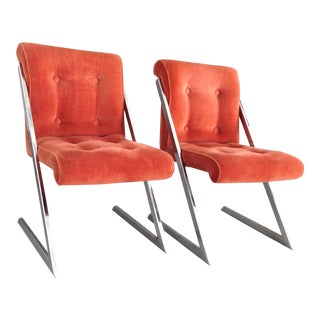 Milo Baughman Z Shaped Dining Chairs - Pair