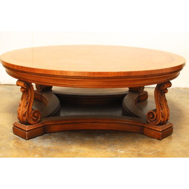 Vintage Carved Round Coffee Table Chairish