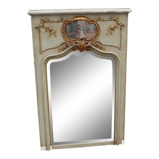 C.18 French Louis XVI French Parcel-Gilt Trumeau Wall Mirror With Oil Painting