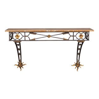 Vintage French Art Deco Gilded Iron Console Table Stone Top circa 1930