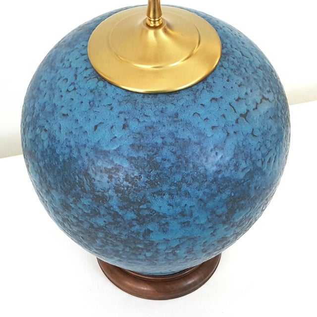 Hollywood Regency Turquoise Pottery Lamp - Image 2 of 6