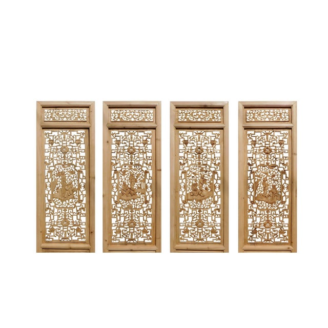 Image of 8 Immortals Carved Panel Floor Screens - Set of 4
