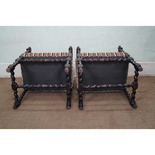 Antique Oak Lion Barley Twist Armchairs - A Pair - Image 5 of 10