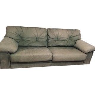 Roche Bobois Green Leather Sofa