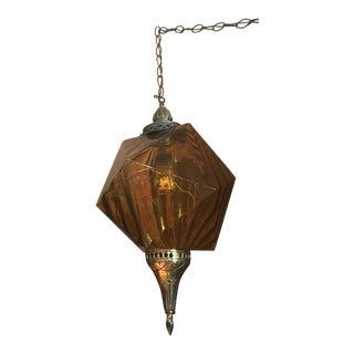 Amber Icosahedron Light Fixture