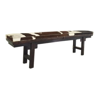 Vintage Chinese Bench with Cowhide Cushion