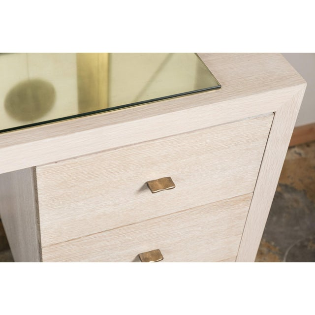 Modern Desk in Bleached Oak with Brass - Image 3 of 9