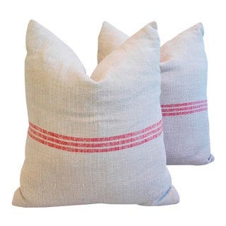 European Grain Sack Pale Red Striped Textile Pillows- A Pair