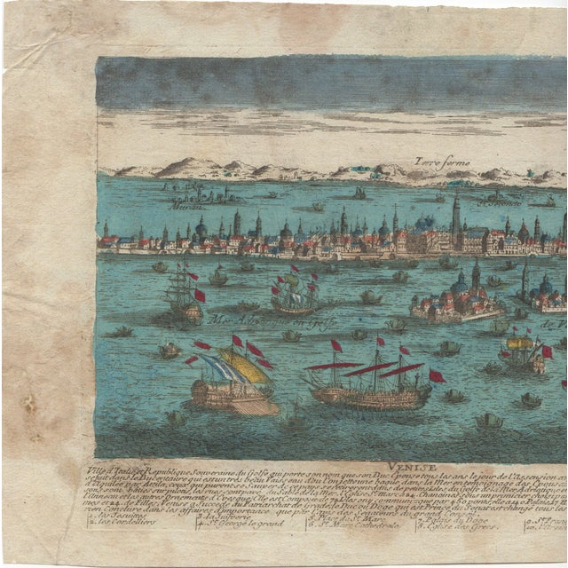Venice Italy Hand Colored Panorma Etching - Image 2 of 4