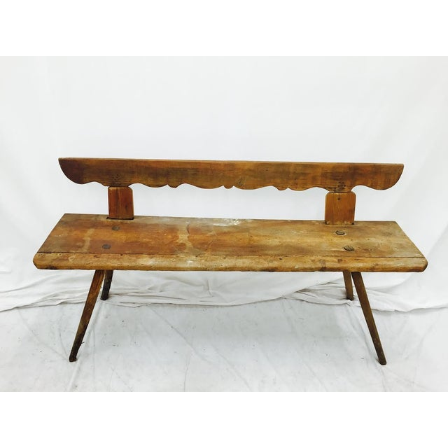 Antique Wooden Farm Bench - Image 3 of 10