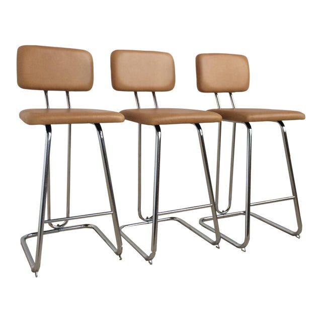 Butterscotch Leather Counter Stools - Set of 3 - Image 1 of 5