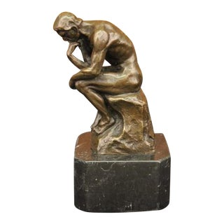 Thinker Symbol of Philosophy Bronze Sculpture on Marble Base Figure