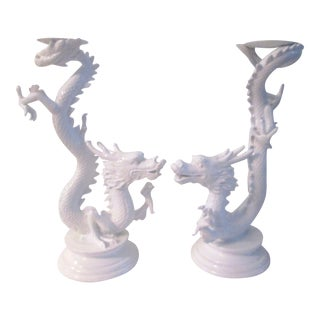 White Dragon Pillar Candle Holders - A Pair