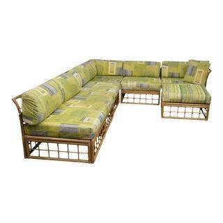 Mid Century Rattan Bamboo Large Modular Sectional Sofa