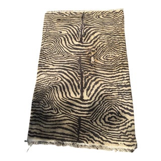 Cream & Black Animal Print Wool Rug - 4' X 6'4""