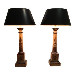 Tole Columnar Table Lamps